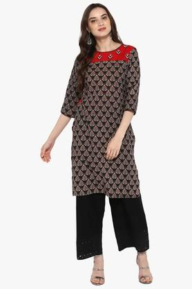 JUNIPER Womens Printed Front Slit Straight Kurta With Fringes