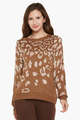 LATIN QUARTERS Womens Round Neck Printed Sweater