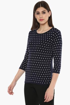 Womens Round Neck Dot Pattern Sweater