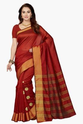 ISHINWomens Bhagalpuri Silk Zari Work Saree - 203260419
