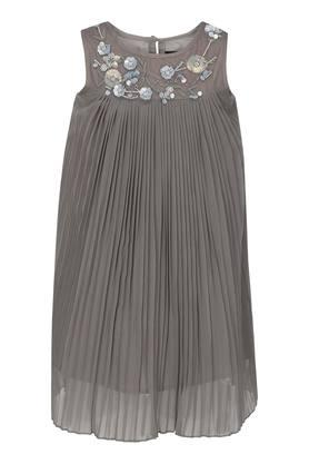 Girls Round Neck Embellished A-Line Dress