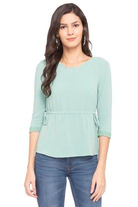 Womens V Neck Solid Tie Up Top