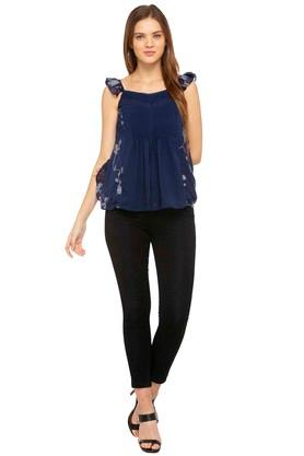 Womens Spaghetti Neck Embroidered Top