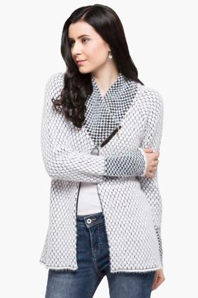 ONER Womens V Neck Self Pattern Cardigan