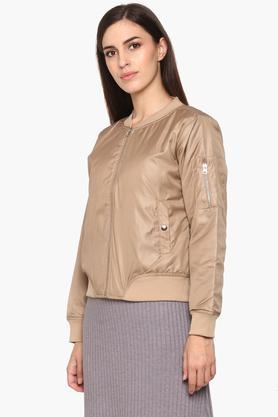 Womens Zip Through Neck Solid Jacket