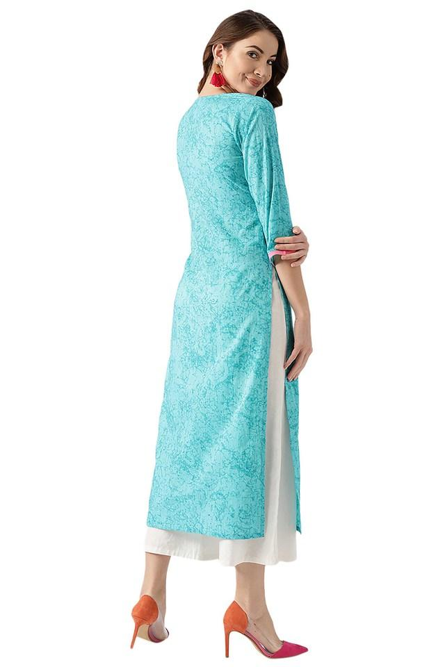 Womens Cotton Printed Embroidery Kurta