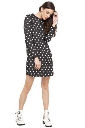 Womens Round Neck Polka Dot Shift Dress