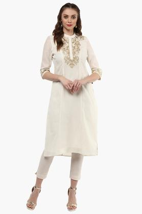 JUNIPER Womens Embroidered Mandarin Collar Kurta