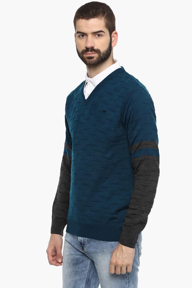Mens V-Neck Solid Sweater