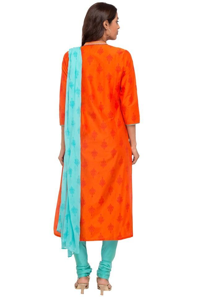 Womens Mandarin Neck Printed Embroidered Churidar Suit