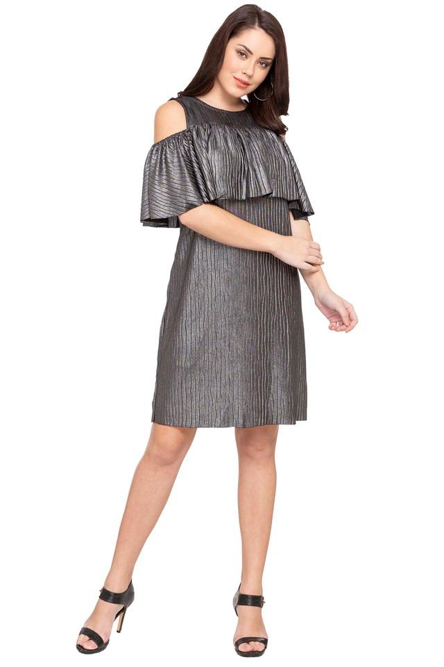 Womens Round Neck Shimmer A-Line Dress