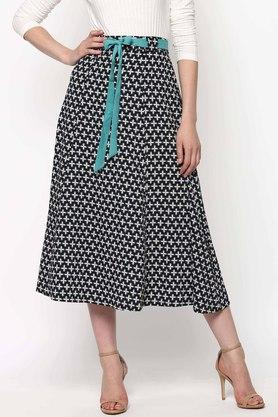 SASSAFRAS Womens Printed Midi Skirt