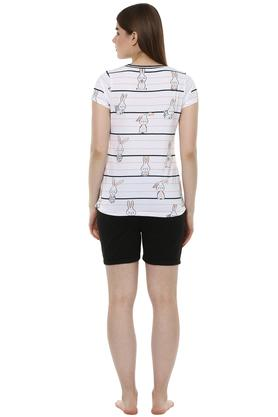 Womens Round Neck Printed Top and Solid Shorts Set