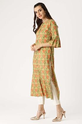 Womens Mandarin Neck Floral Print Kurta