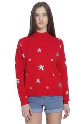 VERO MODA Womens High Neck Embellished Sweater