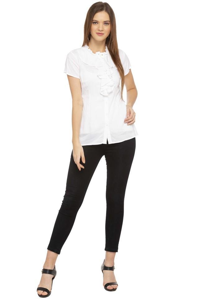 Womens Ruffled Collar Solid Shirt