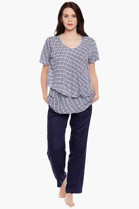 CLOVIA Maternity Round Neck Printed Top And Solid Pyjama Set