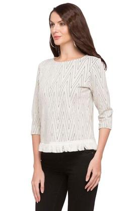 Womens Round Neck Embroidered Stripe Top