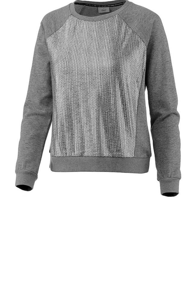 Womens Round Neck Slub Embellished Sweatshirt