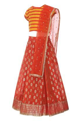 Girls Round Neck Striped Ghaghra Choli and Dupatta Set