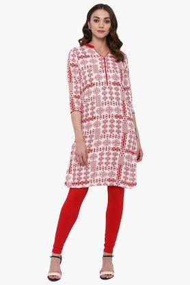 JUNIPER Womens Printed Straight Kurta With Piping Detailing - 204030134_9100