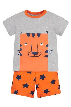 Boys Round Neck Printed Tee and Printed Shorts
