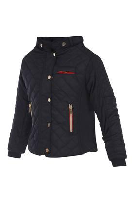 Girls Mandarin Neck Solid Jacket