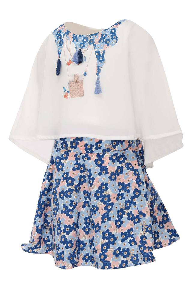 Girls Round Neck Printed Top and Skirt