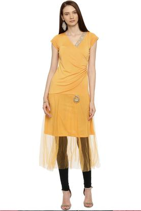 Womens Surplice Neck Solid Kurta