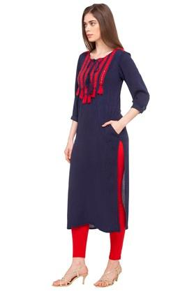 Womens Tie Up Neck Embroidered Kurta