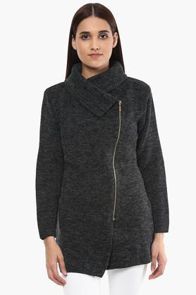 ONER Womens High Neck Slub Cardigan