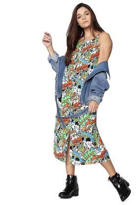 Womens Strappy Neck Printed Midi Dress