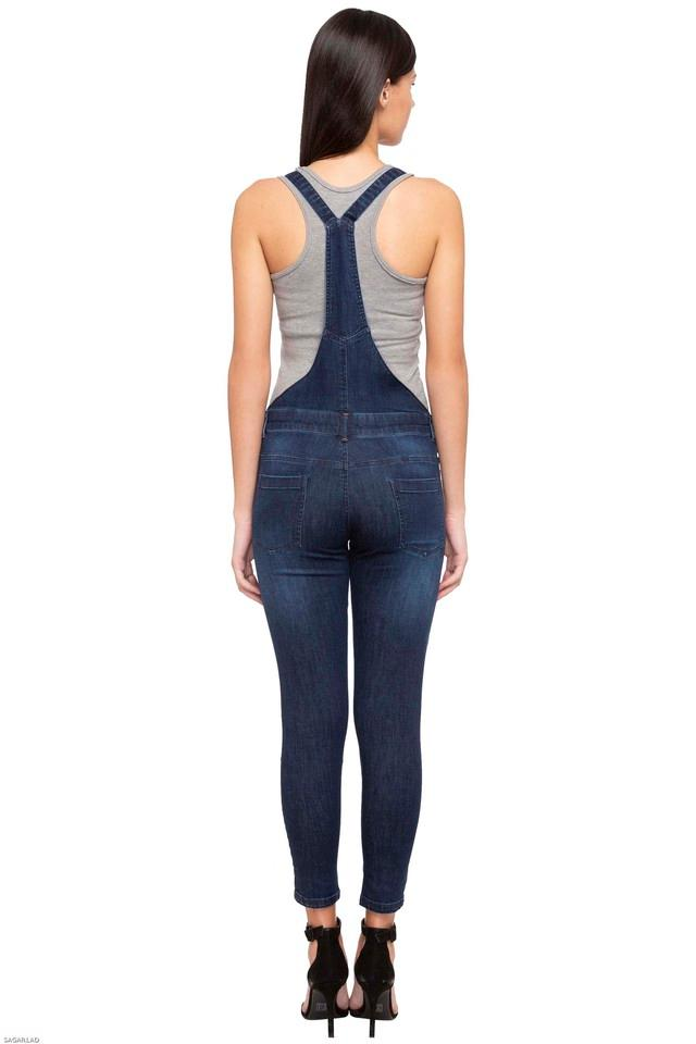 Womens 5 Pocket Distressed Dungarees