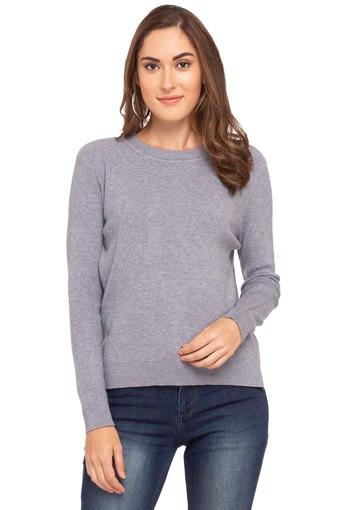 Womens Round Neck Slub Sweater