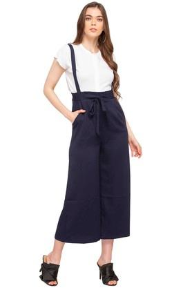 Womens 2 Pocket Solid Culottes with Suspenders