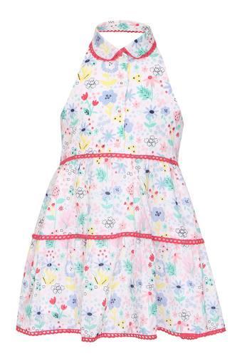 Girls Peter Pan Collar Printed Dress