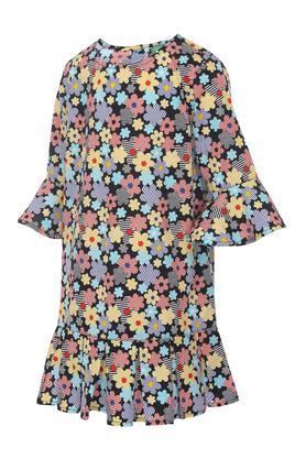 Girls Round Neck Floral Print Drop Waist Dress
