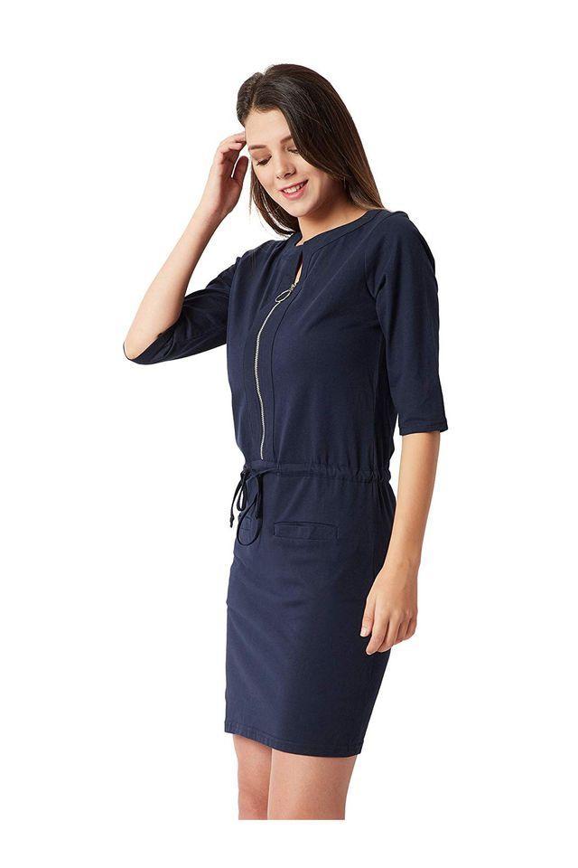 Womens Zip through Neck Solid Empire Waist Dress
