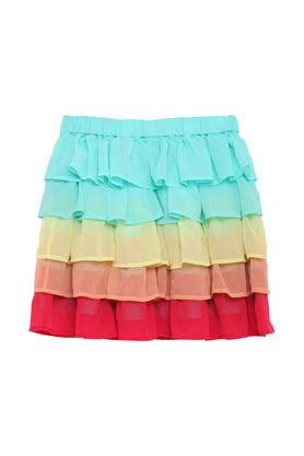 Girls Colour Block Casual Skirt