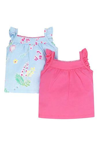 Girls Printed and Solid Vests - Pack of 2
