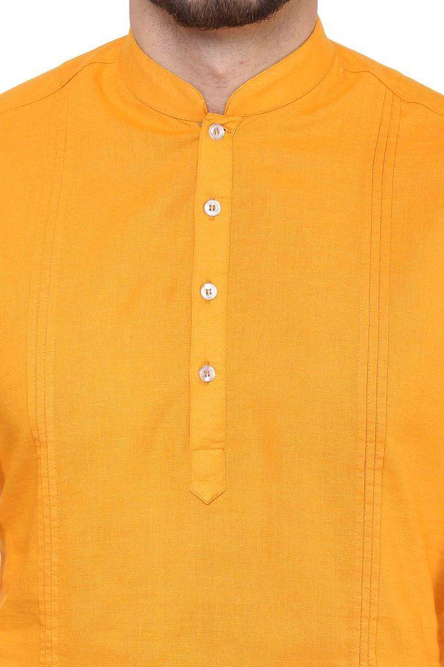 Mens Mandarin Collar Slub Kurta