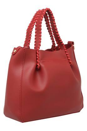 Womens Zip Closure Satchel Handbag with Pouch