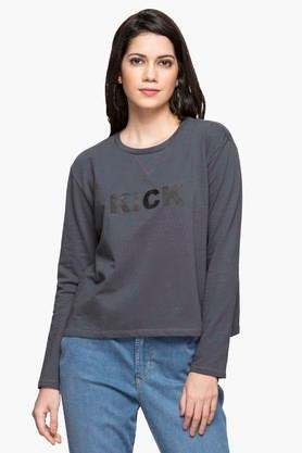 LEVIS Womens Round Neck Solid Sweatshirt