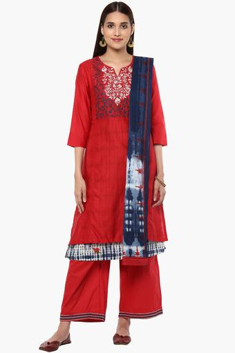 e991695d355 Buy BIBA Womens Notched Neck Embroidered Palazzo Suit