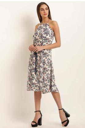 Womens Halter Neck Printed Flared Dress