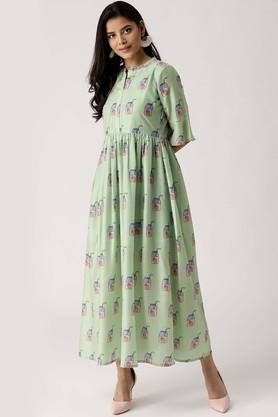 Womens Mandarin Neck Muslin Printed Flared Dress
