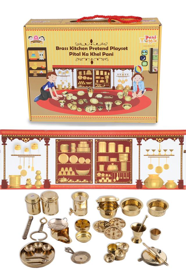 Premium Brass Pretend Play Kitchen Set
