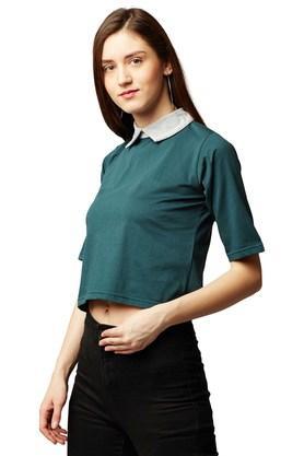 Womens Peter Pan Collar Solid Crop Top