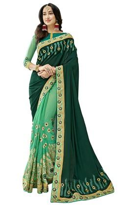 DEMARCA Womens Colour Block Embroidered Saree With Blouse Piece
