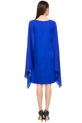 Womens Round Neck Solid Cape Shift Dress